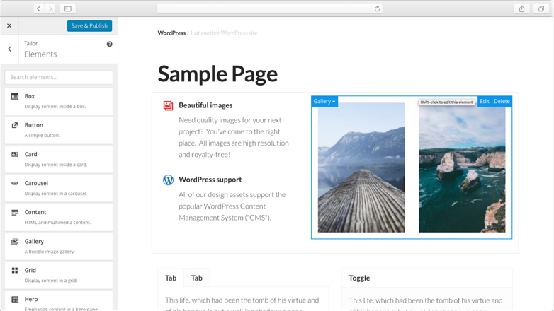 Tailor: un page builder open source per WordPress