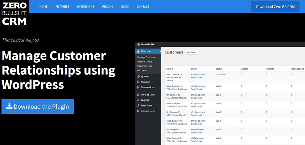 Zero BS: il CRM per WordPress