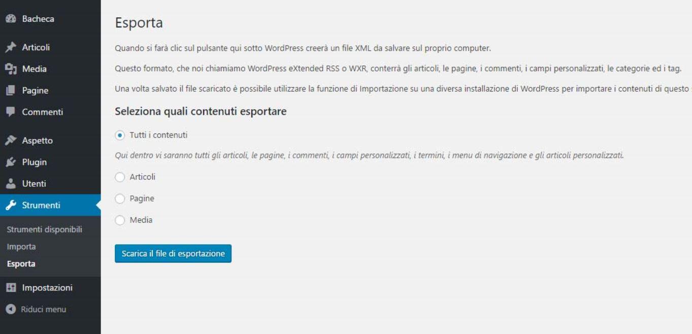 I parametri per esportare ed importare in WordPress - Fabio Gasparrini creazione siti web a San Benedetto del Tronto e Ascoli Piceno