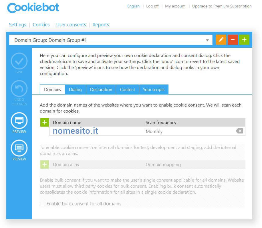 Cookiebot domains - Fabio Gasparrini creazione siti web a San Benedetto del Tronto, Ascoli Piceno, Teramo e Fermo